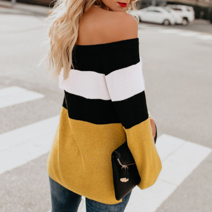 Fashion Long Sleeve Off-The-Shoulder Sweater