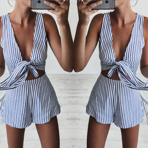 Sexy V-Neck Sleeveless Striped Two-Piece Shorts