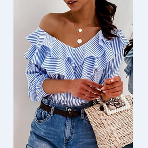 Striped Colorblock Ruffles Top