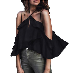 Solid Color Sexy Sling Chiffon Shirt