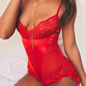 Red Mesh Lace Sexy Jumpsuit