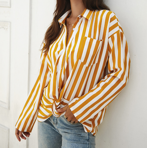 Striped Design Women'S Long Sleeve Chiffon Shirt