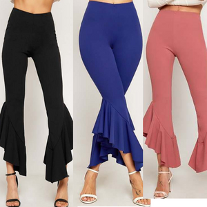 Women'S Slim Irregular Ruffled Trousers