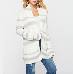 Striped Knit Cardigan Coat Sweater