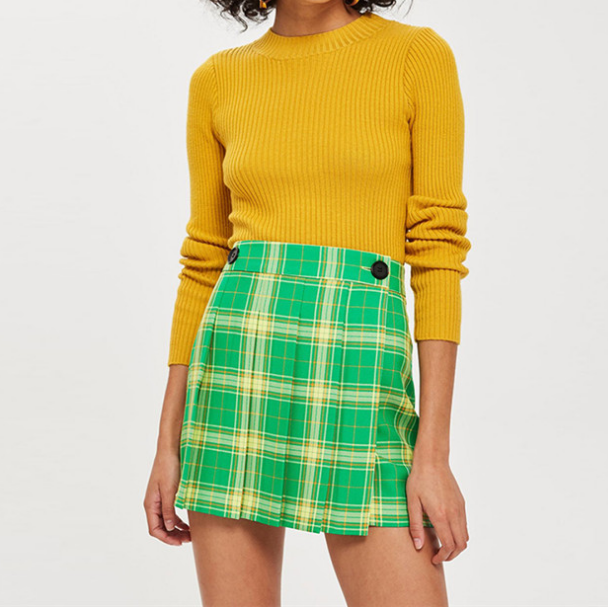 Women Plaid Button Skirt