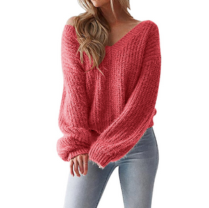 Women'S V-Neck Backless Loose Sweater
