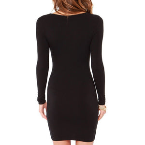 Fashion Slim Solid Color Long Sleeve Dress
