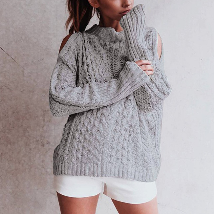 Women'S High Collar Off-The-Shoulder Knit Sweater