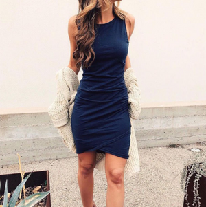 Irregular Round Neck Sleeveless Dress