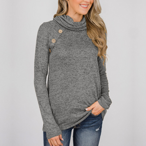 High-Necked Long-Sleeved Buttons Sweater
