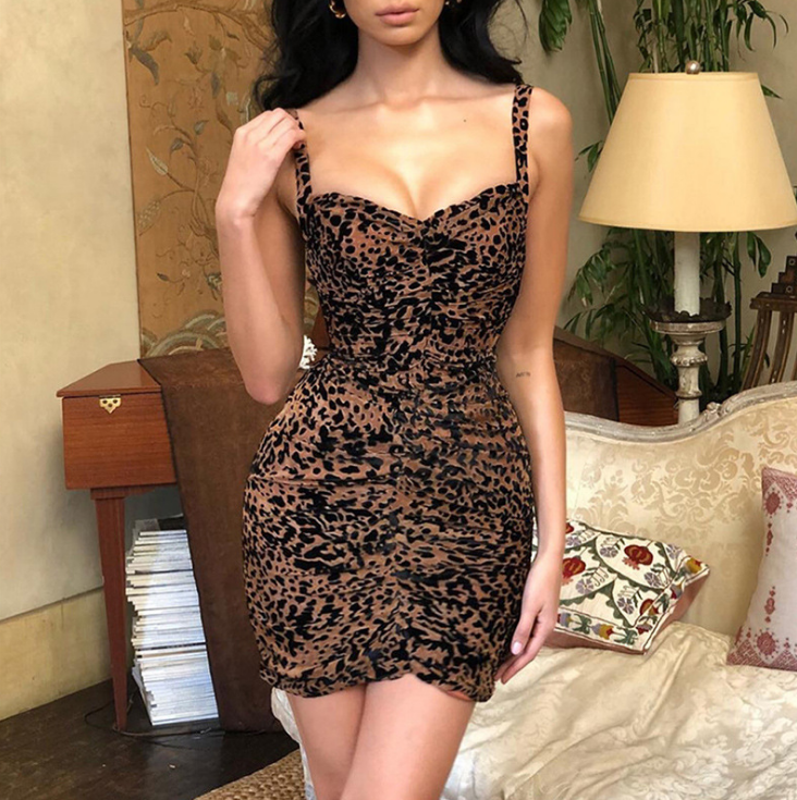 Sexy Sling Backless Leopard Print Dress
