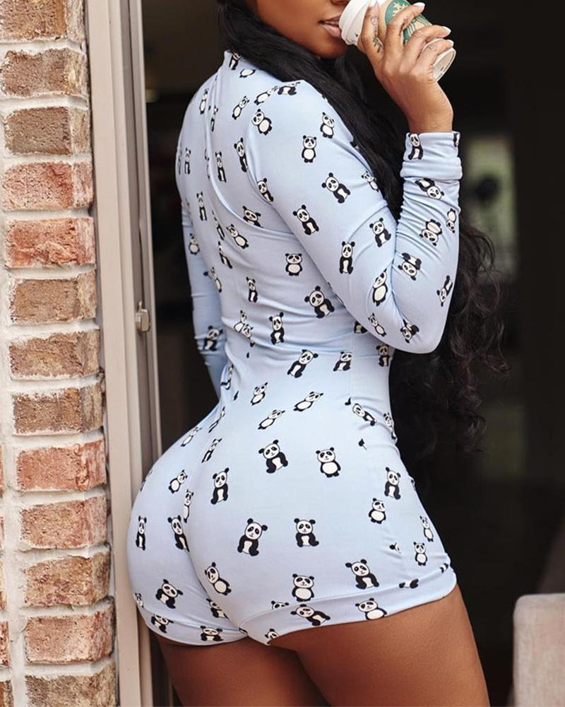 Sexy Deep V-Neck Printed Long Sleeve Button Jumpsuit