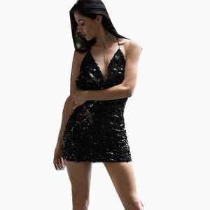 Sexy Sling V-Neck Sequin Dress