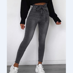 Solid Color Fashion Paperbag High Waist Jeans