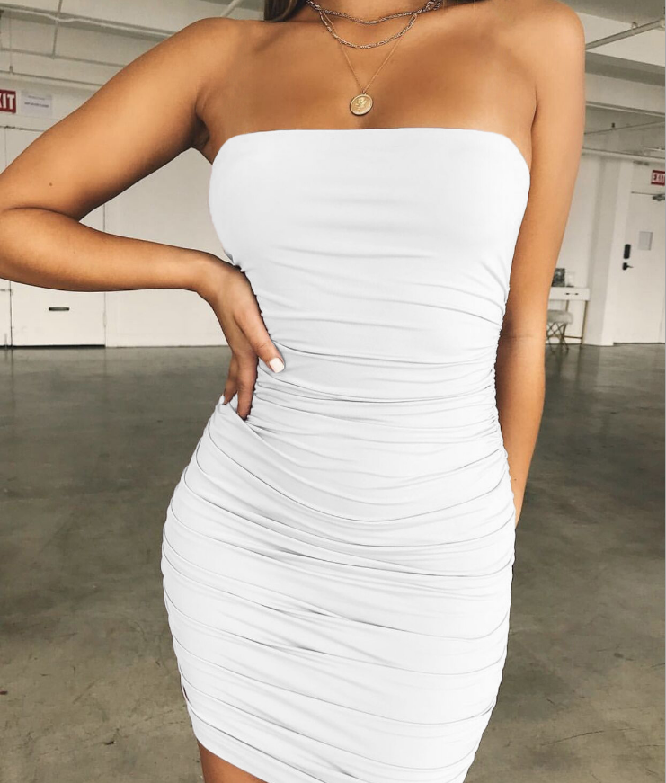 Solid Color Women'S Sexy Wrapped Chest Bag Hip Dress
