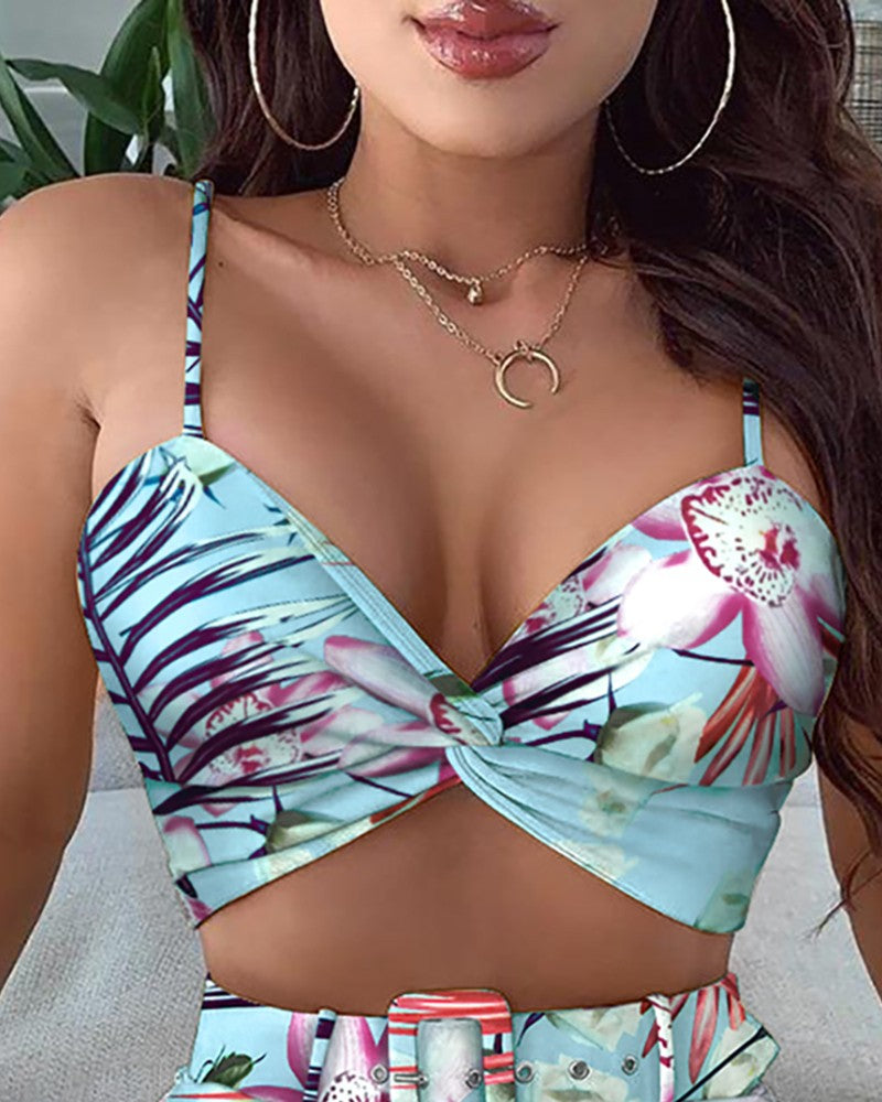 Sexy Printed Sling Two-piece Set