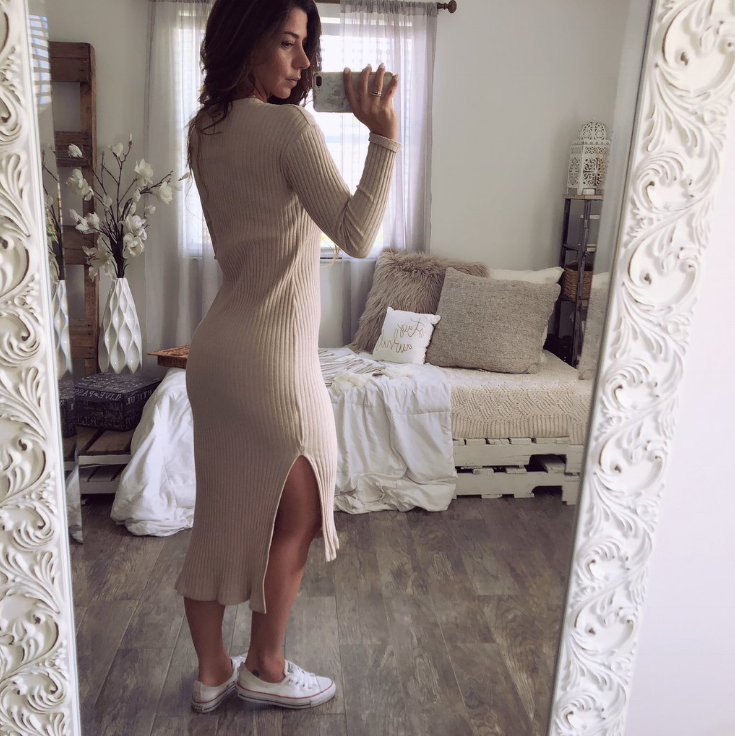 Sexy Round Neck Slim Long Sleeve Design Dress