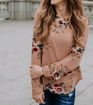 Printed Round Neck Long Sleeve T-Shirt