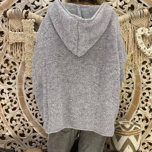 Loose Design Solid Color Sexy Hooded Sweater Top
