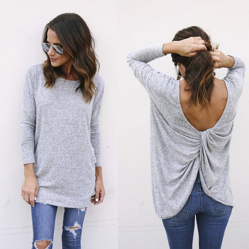 Irregular Knitted Long-Sleeved Sweater