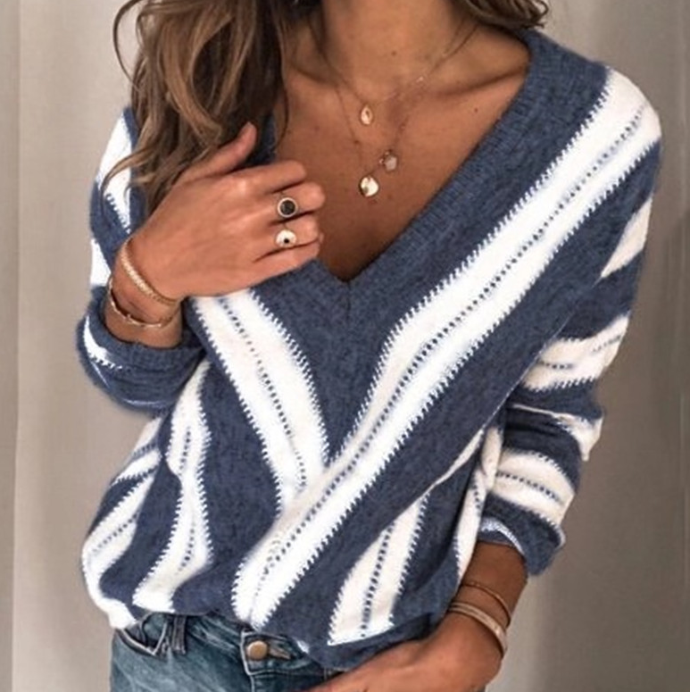 Long Sleeve V-Neck Striped Sweater