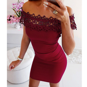 Sexy Lace One Word Collar Package Hip Dress