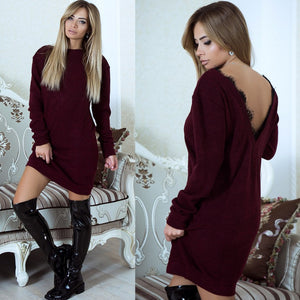Long Sleeve Backless V-Neck Lace Stitching Dress