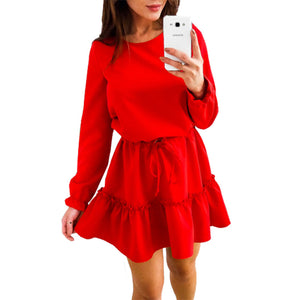 Loose Women'S Round Neck Long Sleeve Dress