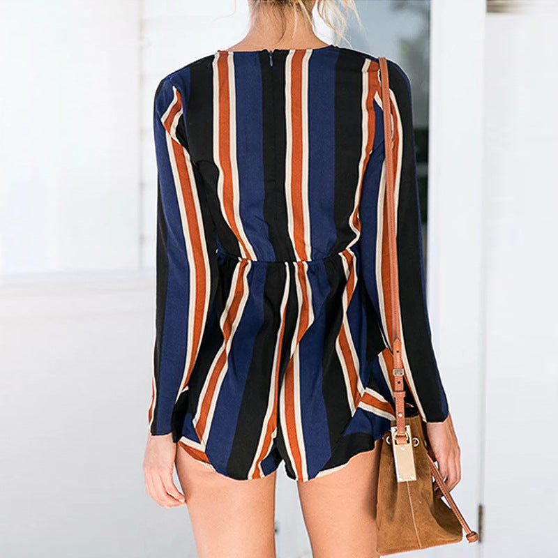Deep V-Neck Bow Stripe Long Sleeve Jumpsuit