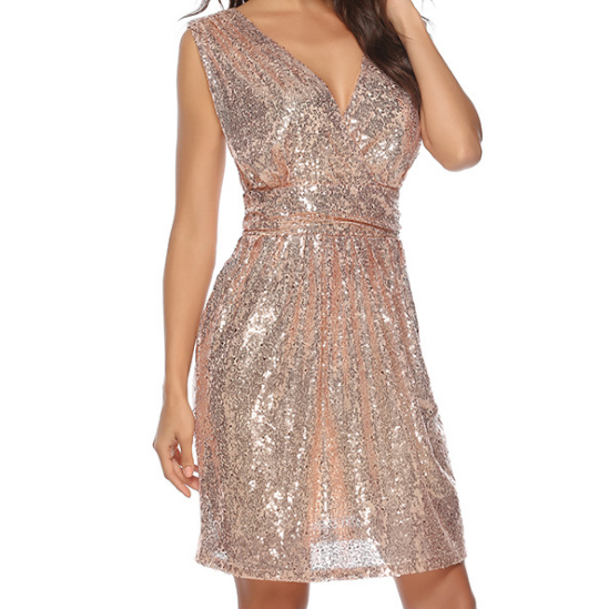 Sequined V-Neck Sleeveless High Waist Dress
