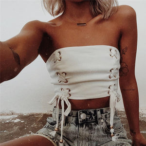 Strapless Pure Color Cross Straps Short Crop Top