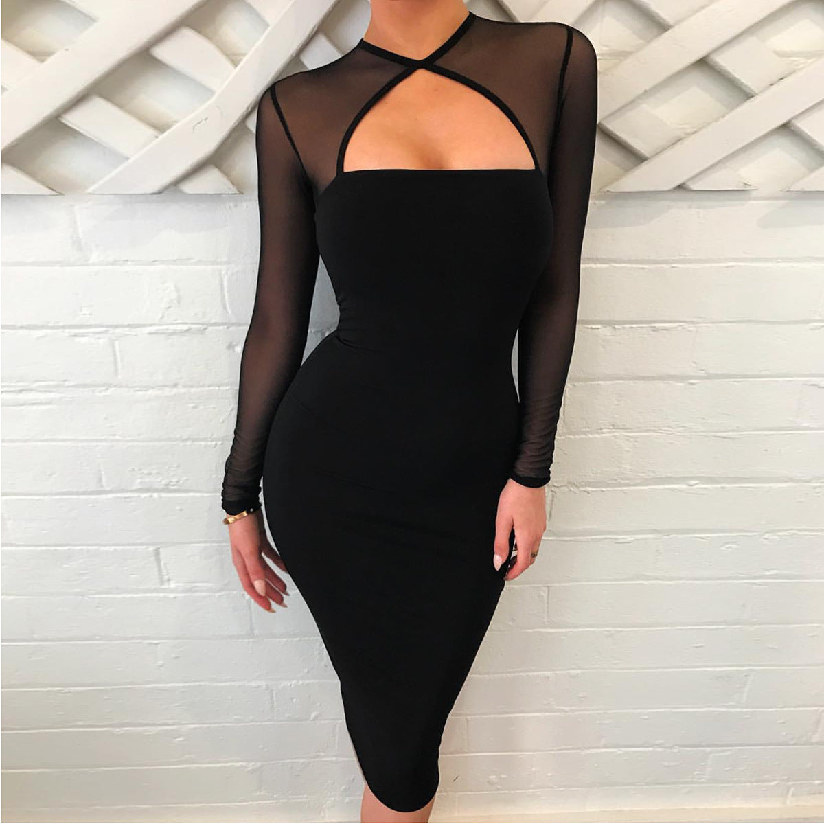 Women Sexy Black Long Sleeve Hip Dress