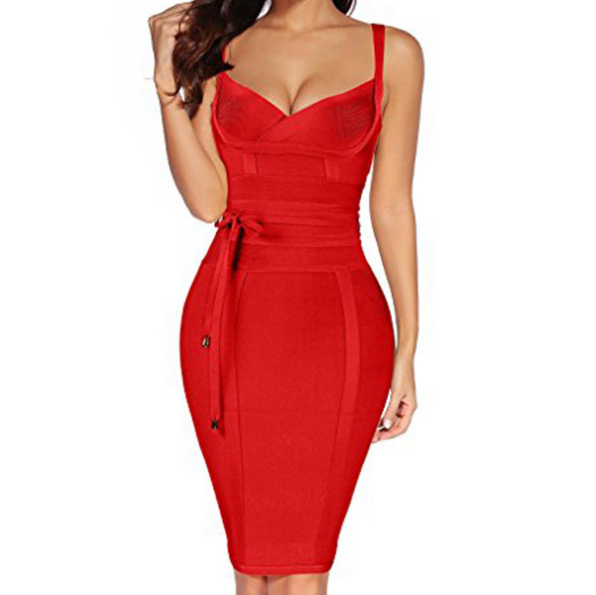 V-Neck Sexy High Waist Sleeveless Dress