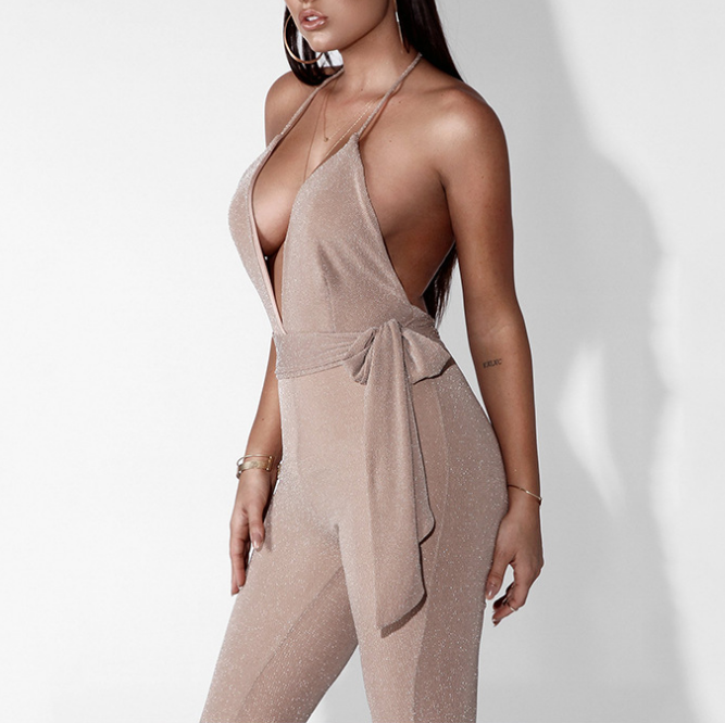 Sling V-Neck High Waist Jumpsuit