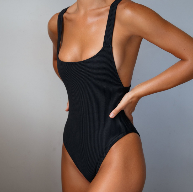 Solid Color Sexy Black One-Piece Swimsuit