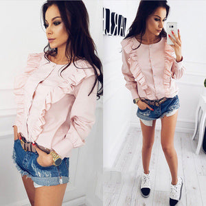 2018 Fashion Long Sleeve Button Top