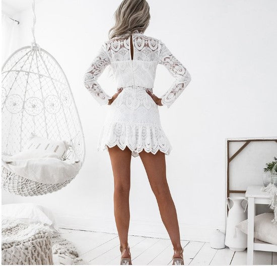 Fashion Solid Color Lace Long-Sleeved Dress