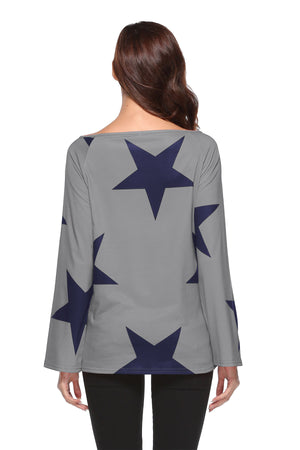 Star Print One Shoulder Tops