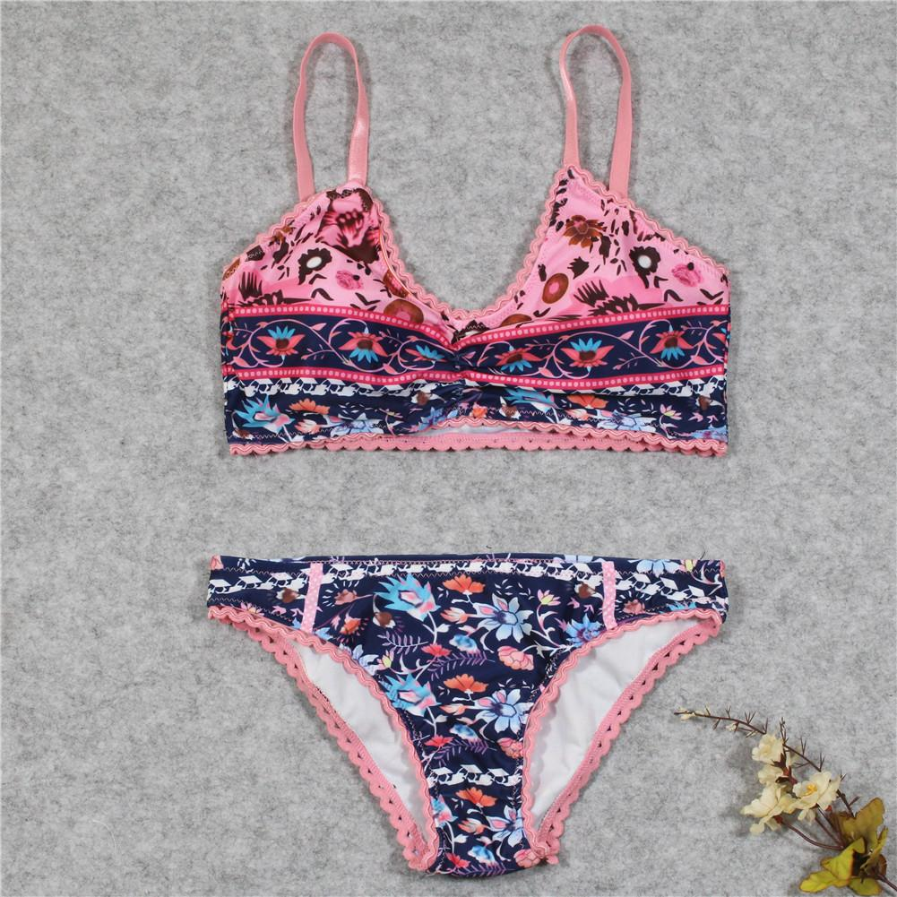 Sexy Ladies Floral Print Two Piece Bikini Swimsuit Bathing