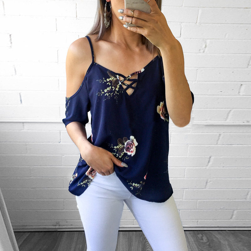 Sling Print Short Sleeve Open Back Shoulder Short Sleeve Top