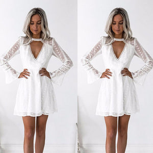 Fashion Sexy V-neck White Lace Dress