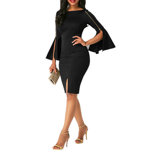 Solid Color Black Zipper Hip Dress