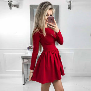 Solid Color Women'S Round Neck High Waist Long Sleeve Dress