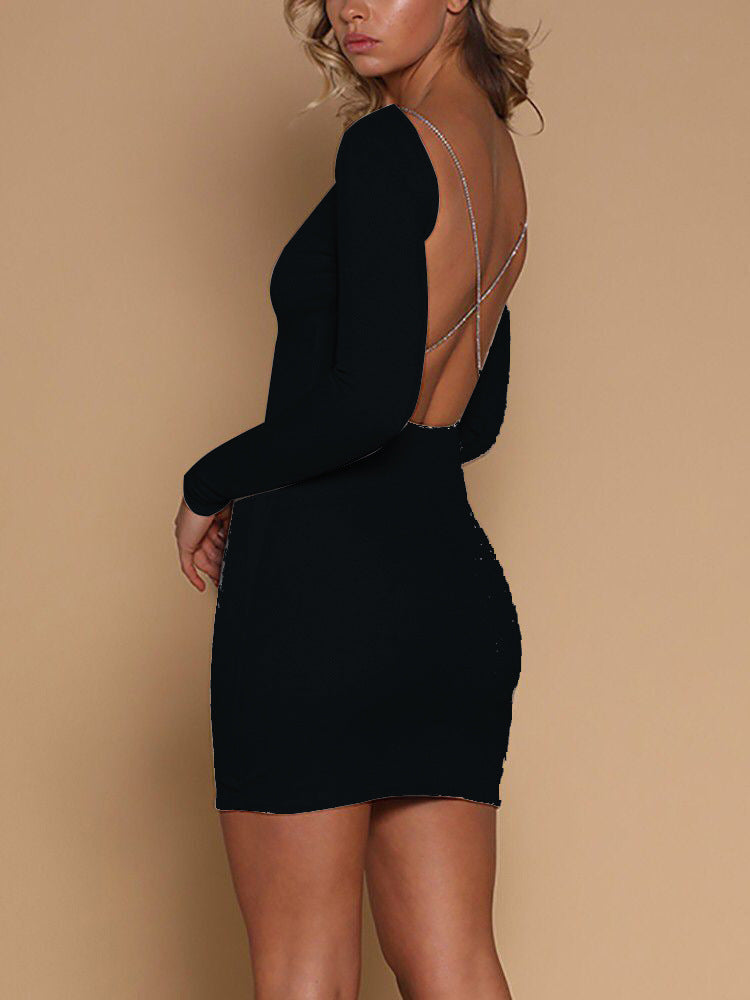 Sexy Backless Long Sleeve Hip Dress