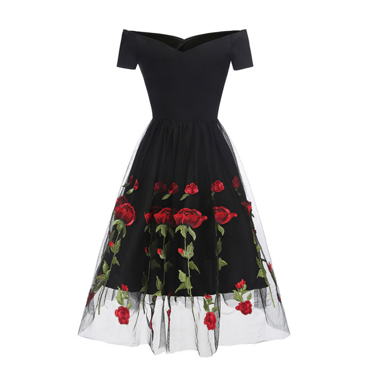 Embroidered Rose Lace Screen Gauze Dress