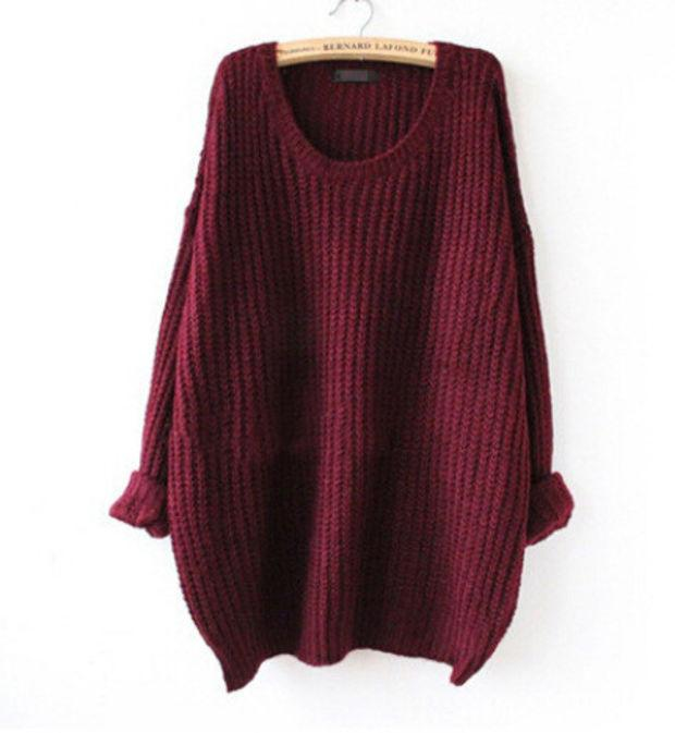 Crew Neck Knit Sweater Loose Pullover