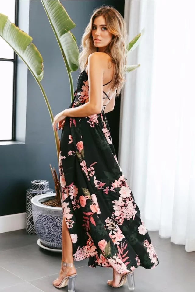 Sexy Backless Print Dress