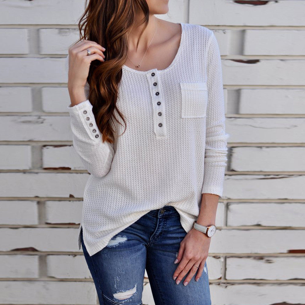 Sexy Round Neck Long Sleeve Button T-Shirt