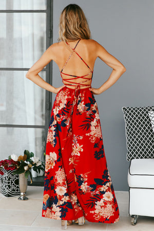 Red Floral Print Lace Up V-Neck Maxi Dresses