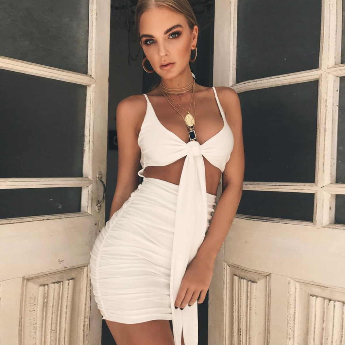 Sexy Backless Sling Package Hip Dress